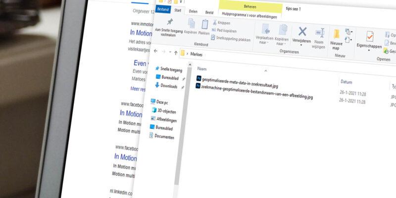 Scherm met venster met zoekmachine geoptimaliseerde bestandsnamen voor afbeeldingen
